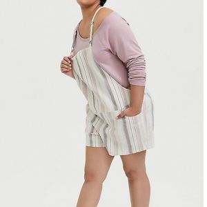 Torrid Linen Striped Shortall 2